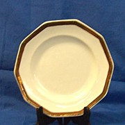 Livesley Powell & Company Ironstone Plate with Copper Lustre Rim