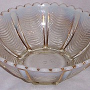 Northwood Signed White Opalescent Drapery Bowl