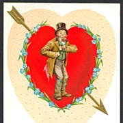 Postcard Valentine E Nash heart with arrow man with top hat
