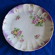 Large Porcelain Cake Plate with Yellow and Pink Roses