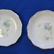 Two China Butter Pats with Blue Flowers and Greenery