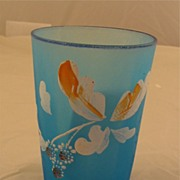 Blue Satin Glass Paneled Tumbler with Enameled Flowers