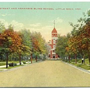 Postcard Center Street and Arkansas Blind School Little Rock AR