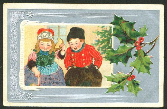 Postcard Embossed Merry Christmas with Dutch Boy and Girl