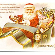 Postcard Santa in Red Coat Driving Auto Full of Toys