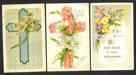 Three Embossed Easter Postcards with Crosses and Flowers