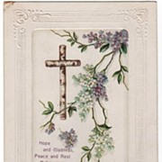 Postcard A Peaceful Easter Wooden Cross and Flowers