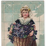 Raphael Tuck Happy Eastertide Postcard Dutch Girl with Violets