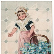 Raphael Tuck Happy Eastertide Postcard Dutch Girl with Forget-me-nots