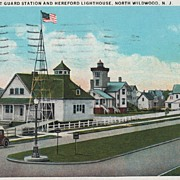 U. S. Coast Guard Station and Hereford Lighthouse, North Wildwood, NJ Postcard