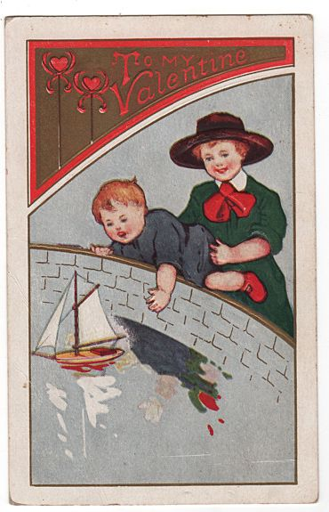 To My Valentine postcards girl and boy sailing toy boat