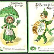 Two St Patrick's Day Postcards Boy with Drum Girl with Umbrella