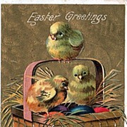 Easter Postcard Colored Eggs and Chicks in Basket