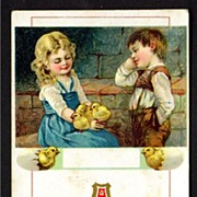 Easter Postcard with Boy in Lederhosen Watching Girl with Lap Full of Chicks
