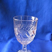 Early American Pattern Glass Zig Zag Goblet
