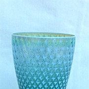 Fostoria Needlepoint Blue Opalescent Glass Tumbler