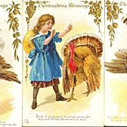 Set of Three E. Nash Thanksgiving Postcards with Turkey Gobblers