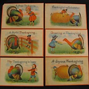 Six Thanksgiving Postcards with Pastel Colors