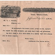 Letter on Jefferson City Woolen Mills Letterhead Tennessee