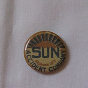 Advertising Pinback Button Sun Accident Company Oklahoma City