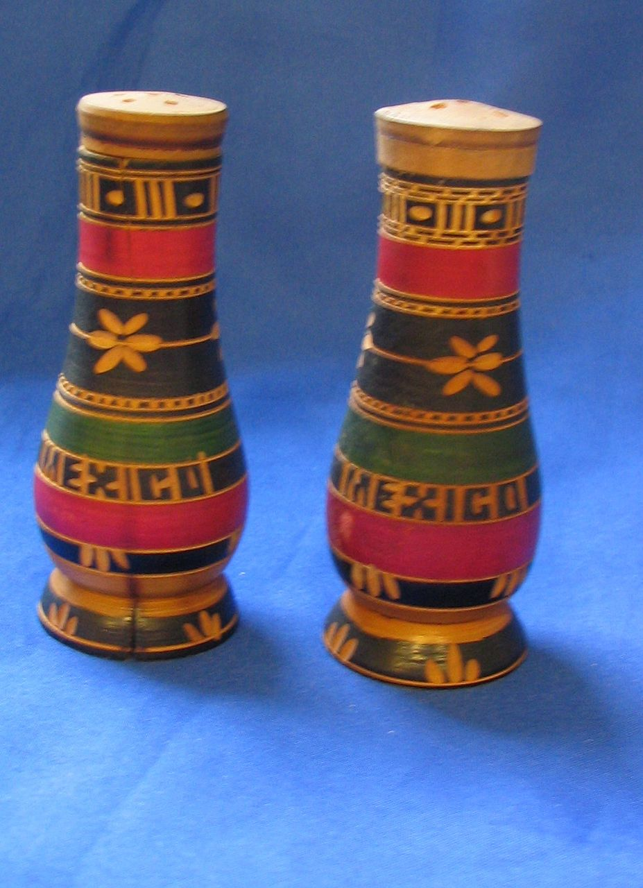 Wooden Bottle Shaped Salt and Pepper Shakers Mexico