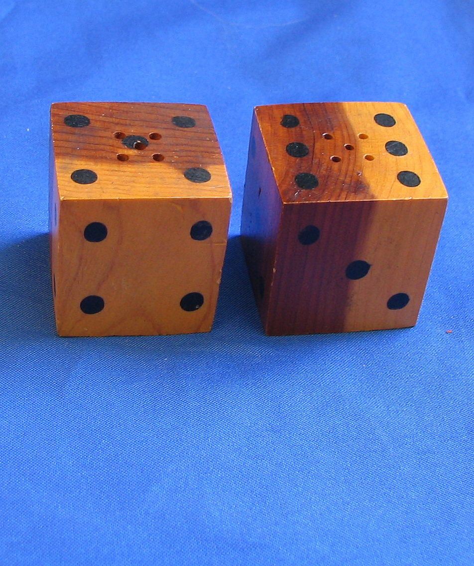 Wooden Dice Salt and Pepper Shakers Natural Tunnel VA