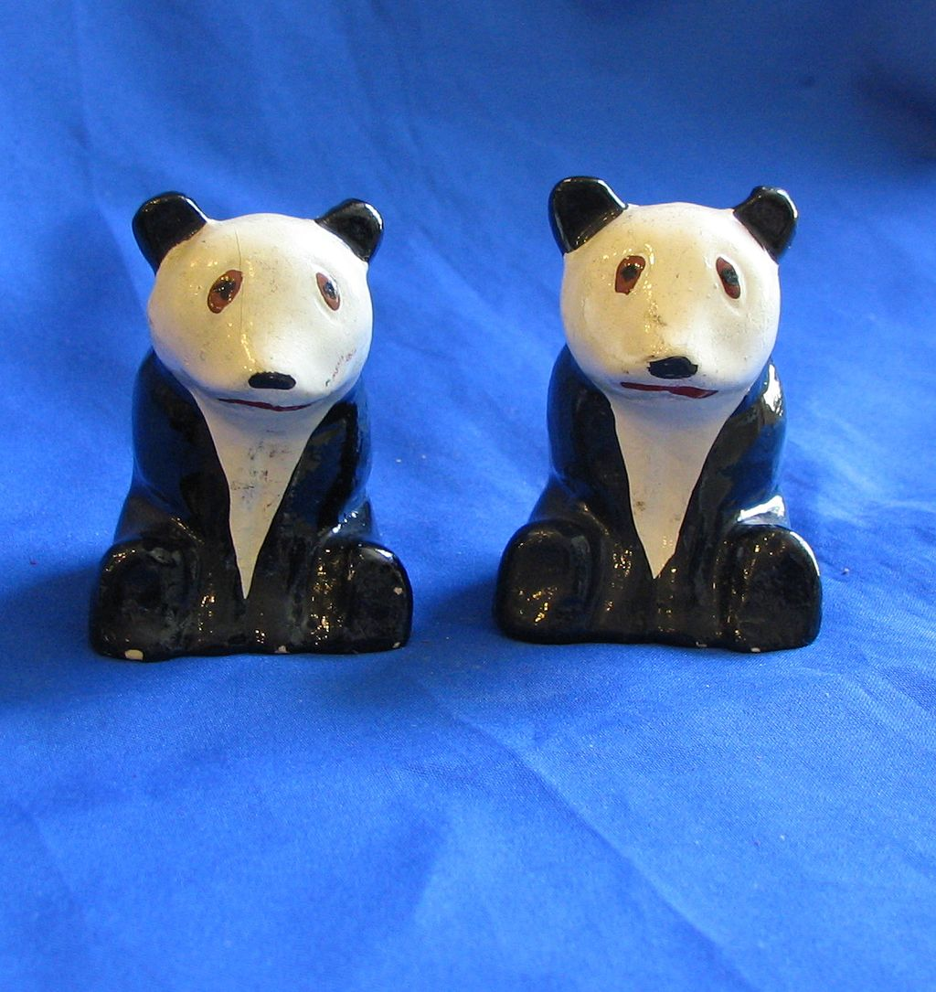 Ceramic Panda Bear Salt and Pepper Shakers
