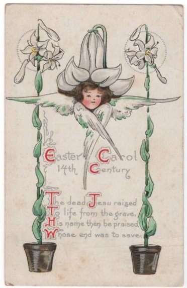 B E Blodgett Easter Postcard Girl with Flower Hat