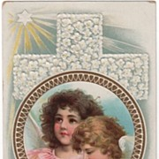 Happy Eastertide Postcard Children Angels Cross of White Flowers