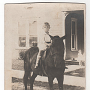 RPPC AZO Willis Leon Williams 4 Years 9 Months on a Horse Vintage Postcard