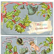 Two Embossed Silver Christmas Postcards
