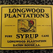 Longwood Plantation's Pure Cane Syrup Label
