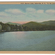 Beaver lake Asheville NC North Carolina in the Land of the Sky Vintage Postcard