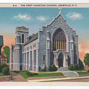 The First Christian Church Asheville NC North Carolina Vintage Postcard
