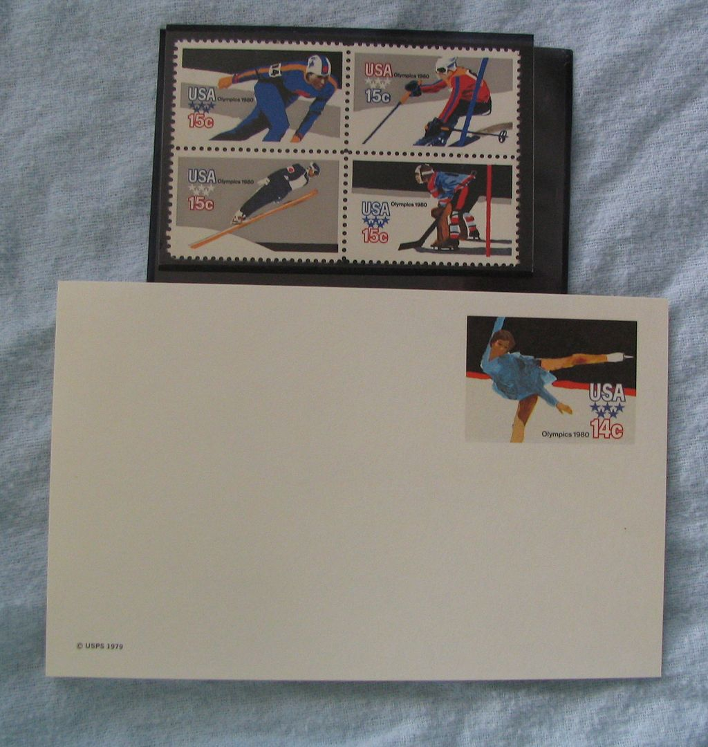 1980 Olympics US Plate Block and Stamped Postcard