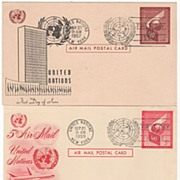 3 FDCs U N Postal Stationery Air Mail Cards '57 '59 '66