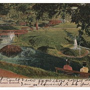 Electric Fountain Endicott New York NY Postcard