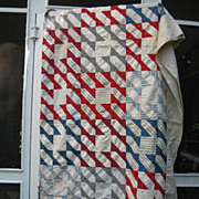 Patriotic 19th C. Calico Quilt TOP~Indian Hatchet~PA