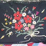 Fab Vintage Floral Applique/Black Wool Felt Pillow c30's