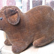 Antique Stuffed Velvet  Dog Rattle~Early Steiff-like