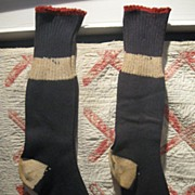 Early Vintage Patriotic Colors Knit Stockings, NOS/Unused
