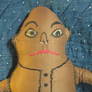 "Early Handmade Cox Palmer Brownie 15"" Cloth Doll~c1900 Folk-Art"