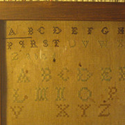Antique ABC Embroidery Sampler, Framed~ NY