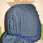 Early Blue Quilted Silk Baby Bonnet~19th C. PA