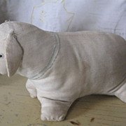 Early Handmade Folk Art Stuffed Cloth Lamb