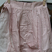 Antique Calico Long Apron~Unused*Red Window-panes