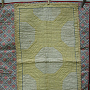 Vintage c30's Yellow Bow Ties Doll Quilt