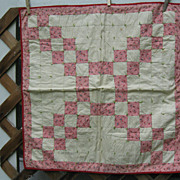 Vintage 30's Pink Feedsacks~Irish Chain~Doll Quilt