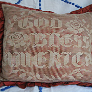 Early*God Bless America* Crochet Bittersweet Pillow~Patriotic Primitive