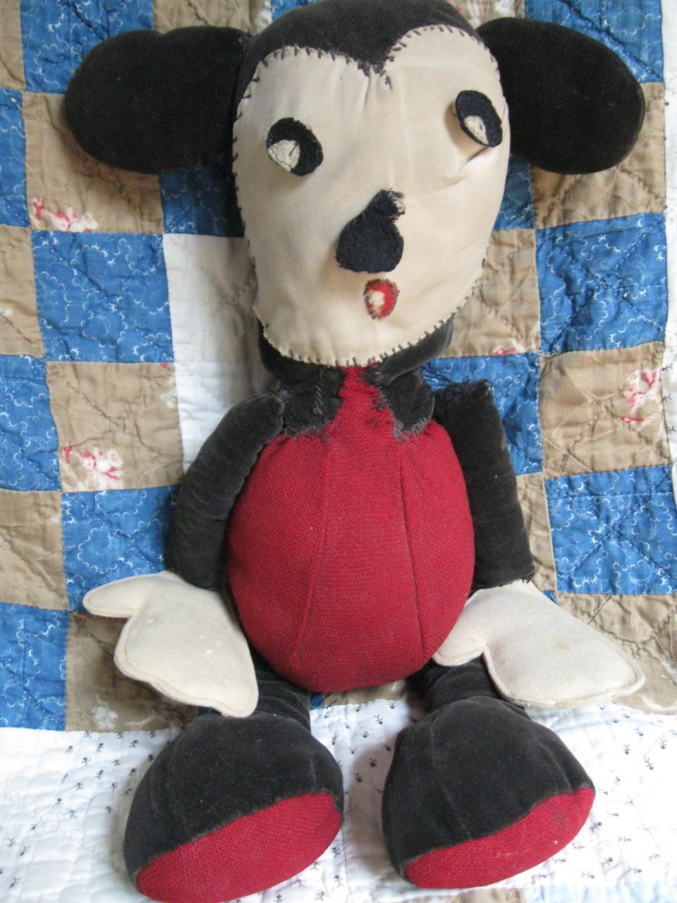 Folk Art Stuffed Cloth Mickey Mouse Doll~Americana